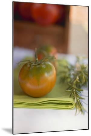 Green Tomatoes on Green Napkin on Table Out of Doors-Foodcollection-Mounted Photographic Print