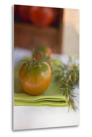 Green Tomatoes on Green Napkin on Table Out of Doors-Foodcollection-Metal Print