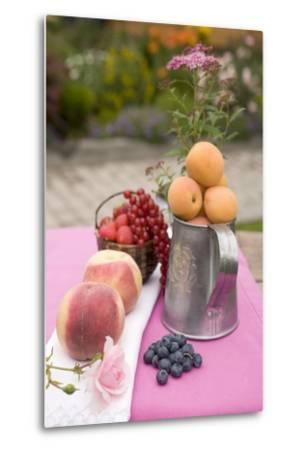 Peaches, Apricots and Fresh Berries on Table Out of Doors-Foodcollection-Metal Print