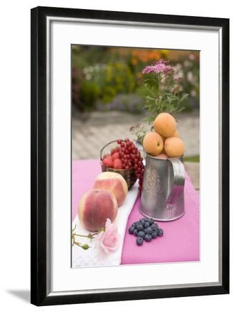 Peaches, Apricots and Fresh Berries on Table Out of Doors-Foodcollection-Framed Photographic Print