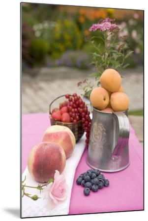 Peaches, Apricots and Fresh Berries on Table Out of Doors-Foodcollection-Mounted Photographic Print