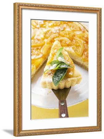 Orange Tart, Partly Sliced, with Slice on Server-Foodcollection-Framed Photographic Print