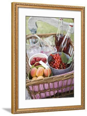 Berries, Apricots, Bottles of Juice and Jars in Basket-Eising Studio - Food Photo and Video-Framed Photographic Print