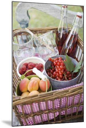 Berries, Apricots, Bottles of Juice and Jars in Basket-Eising Studio - Food Photo and Video-Mounted Photographic Print