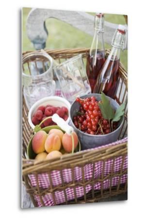 Berries, Apricots, Bottles of Juice and Jars in Basket-Eising Studio - Food Photo and Video-Metal Print