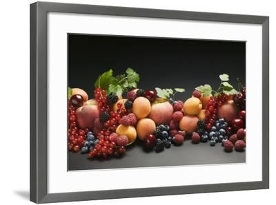Fruit Still Life with Stone Fruit, Berries and Leaves-Foodcollection-Framed Photographic Print