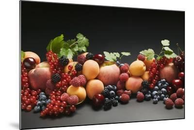 Fruit Still Life with Stone Fruit, Berries and Leaves-Foodcollection-Mounted Photographic Print