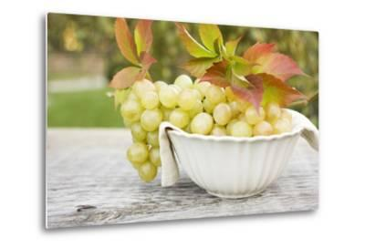 Green Grapes and Autumn Leaves in White Bowl-Foodcollection-Metal Print