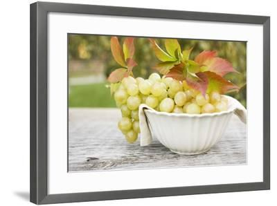 Green Grapes and Autumn Leaves in White Bowl-Foodcollection-Framed Photographic Print