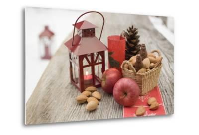 Christmas Decoration with Apples, Nuts and Lantern on Table-Foodcollection-Metal Print