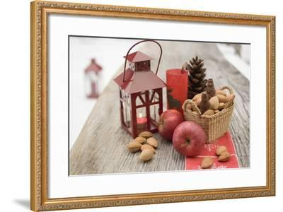 Christmas Decoration with Apples, Nuts and Lantern on Table-Foodcollection-Framed Photographic Print