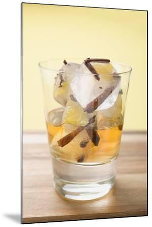 Rum and Ice Cubes with Spices and Pieces of Fruit in Glass-Foodcollection-Mounted Photographic Print