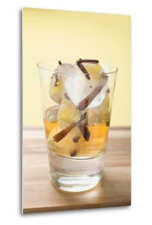 Rum and Ice Cubes with Spices and Pieces of Fruit in Glass-Foodcollection-Metal Print