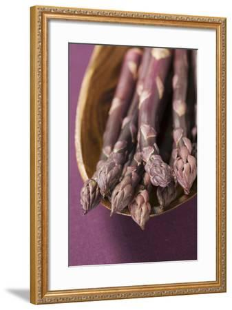 Purple Asparagus in Wooden Bowl-Foodcollection-Framed Photographic Print
