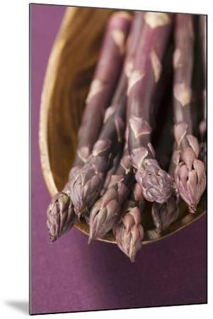 Purple Asparagus in Wooden Bowl-Foodcollection-Mounted Photographic Print