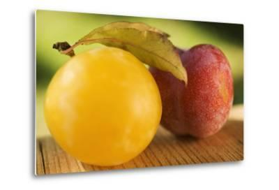 Yellow Plum with Leaves and Red Plum-Foodcollection-Metal Print