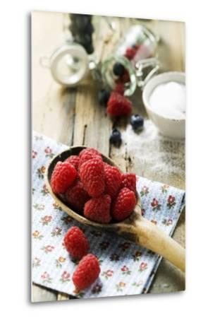 Fresh Raspberries on a Wooden Spoon-Foodcollection-Metal Print