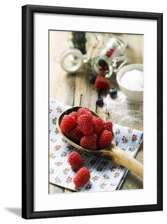 Fresh Raspberries on a Wooden Spoon-Foodcollection-Framed Photographic Print