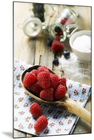 Fresh Raspberries on a Wooden Spoon-Foodcollection-Mounted Photographic Print