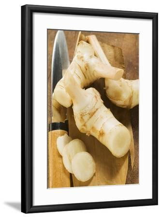 Fresh Galanga Roots and Asian Knife-Foodcollection-Framed Photographic Print