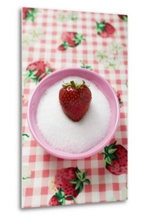 Strawberry in a Small Dish of Sugar-Foodcollection-Metal Print