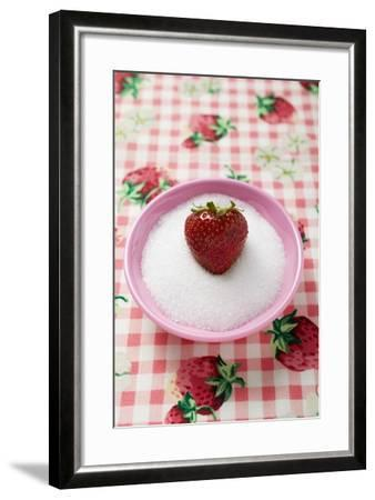 Strawberry in a Small Dish of Sugar-Foodcollection-Framed Photographic Print