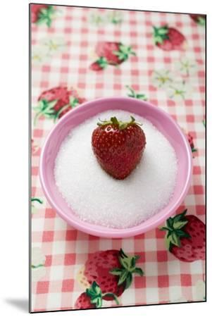 Strawberry in a Small Dish of Sugar-Foodcollection-Mounted Photographic Print
