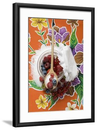 Fresh Berries with Sugar in Jam Jar-Foodcollection-Framed Photographic Print
