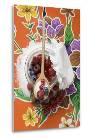 Fresh Berries with Sugar in Jam Jar-Foodcollection-Metal Print