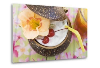 Pina Colada with Flower and Cherries-Foodcollection-Metal Print