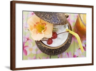 Pina Colada with Flower and Cherries-Foodcollection-Framed Photographic Print