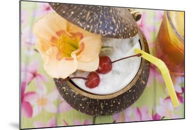 Pina Colada with Flower and Cherries-Foodcollection-Mounted Photographic Print
