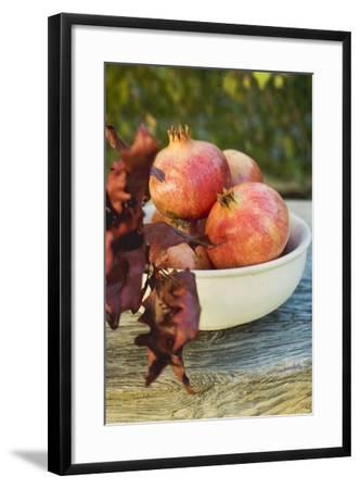 Pomegranates in Bowl with Autumn Leaves-Foodcollection-Framed Photographic Print