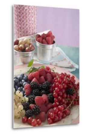 Mixed Berries on a Plate-Foodcollection-Metal Print