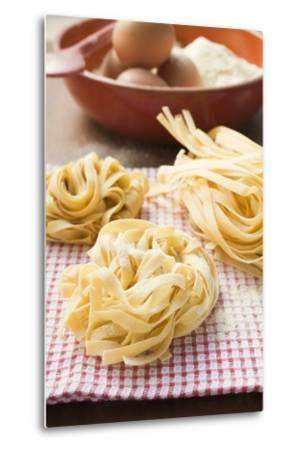 Three Ribbon Pasta Nests-Foodcollection-Metal Print