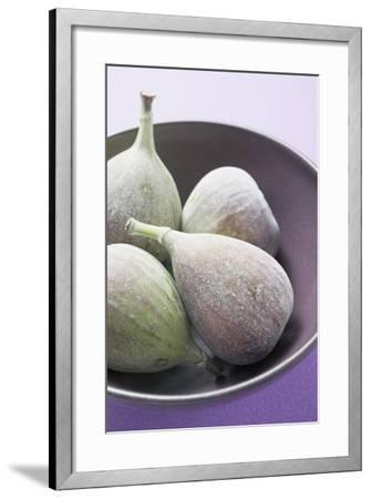Four Fresh Figs in Bowl (Detail)-Foodcollection-Framed Photographic Print