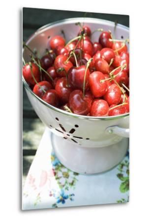 Cherries in Colander-Foodcollection-Metal Print