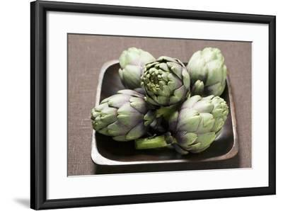 Five Artichokes in Bowl-Foodcollection-Framed Photographic Print
