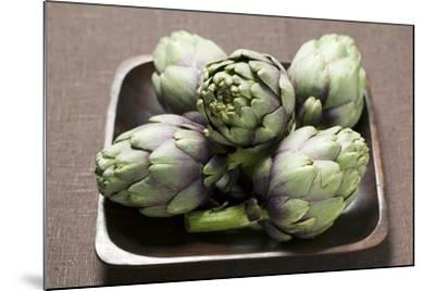 Five Artichokes in Bowl-Foodcollection-Mounted Photographic Print