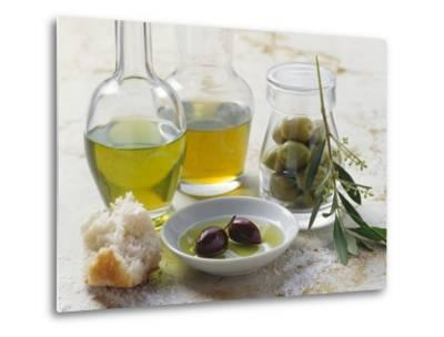 Still Life with Olives and Different Types of Olive Oil-Eising Studio - Food Photo and Video-Metal Print