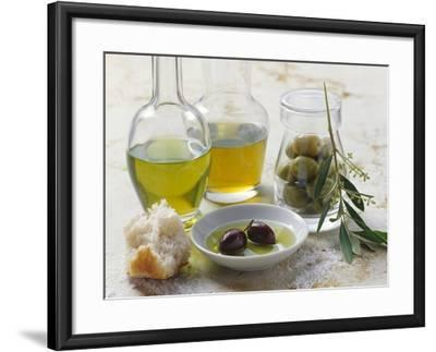 Still Life with Olives and Different Types of Olive Oil-Eising Studio - Food Photo and Video-Framed Photographic Print