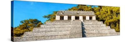 ¡Viva Mexico! Panoramic Collection - Mayan Temple of Inscriptions with Fall Colors II-Philippe Hugonnard-Stretched Canvas Print