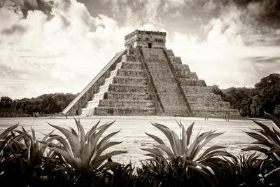 ¡Viva Mexico! B&W Collection - Pyramid of Chichen Itza VI-Philippe Hugonnard-Framed Photographic Print