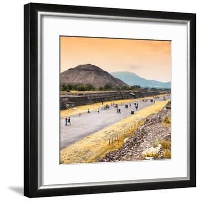 ¡Viva Mexico! Square Collection - Teotihuacan Pyramids at Sunset-Philippe Hugonnard-Framed Photographic Print
