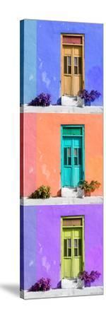 ¡Viva Mexico! Panoramic Collection - Tree Colorful Doors X-Philippe Hugonnard-Stretched Canvas Print