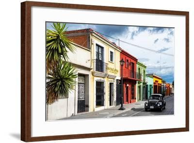 ¡Viva Mexico! Collection - Colorful Facades and Black VW Beetle Car-Philippe Hugonnard-Framed Photographic Print