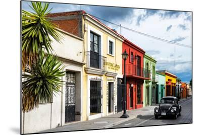 ¡Viva Mexico! Collection - Colorful Facades and Black VW Beetle Car-Philippe Hugonnard-Mounted Photographic Print