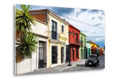 ¡Viva Mexico! Collection - Colorful Facades and Black VW Beetle Car-Philippe Hugonnard-Metal Print