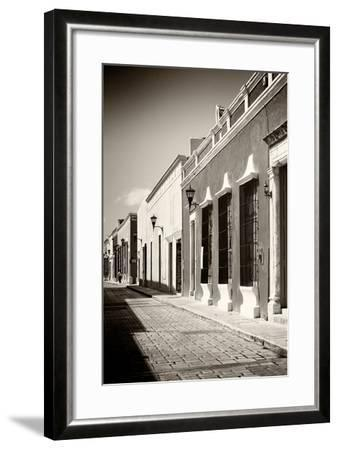 ¡Viva Mexico! B&W Collection - Campeche Street Scene IV-Philippe Hugonnard-Framed Photographic Print