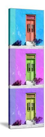¡Viva Mexico! Panoramic Collection - Tree Colorful Doors XIV-Philippe Hugonnard-Stretched Canvas Print
